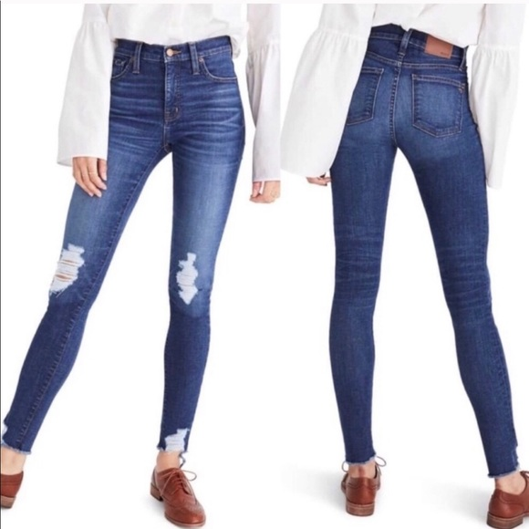 "Madewell Denim - Madewell 9"" High Rise Destructed Skinny Jeans 29"